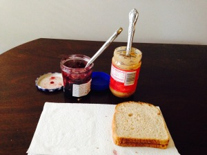 Peanut butter and jelly on the inside